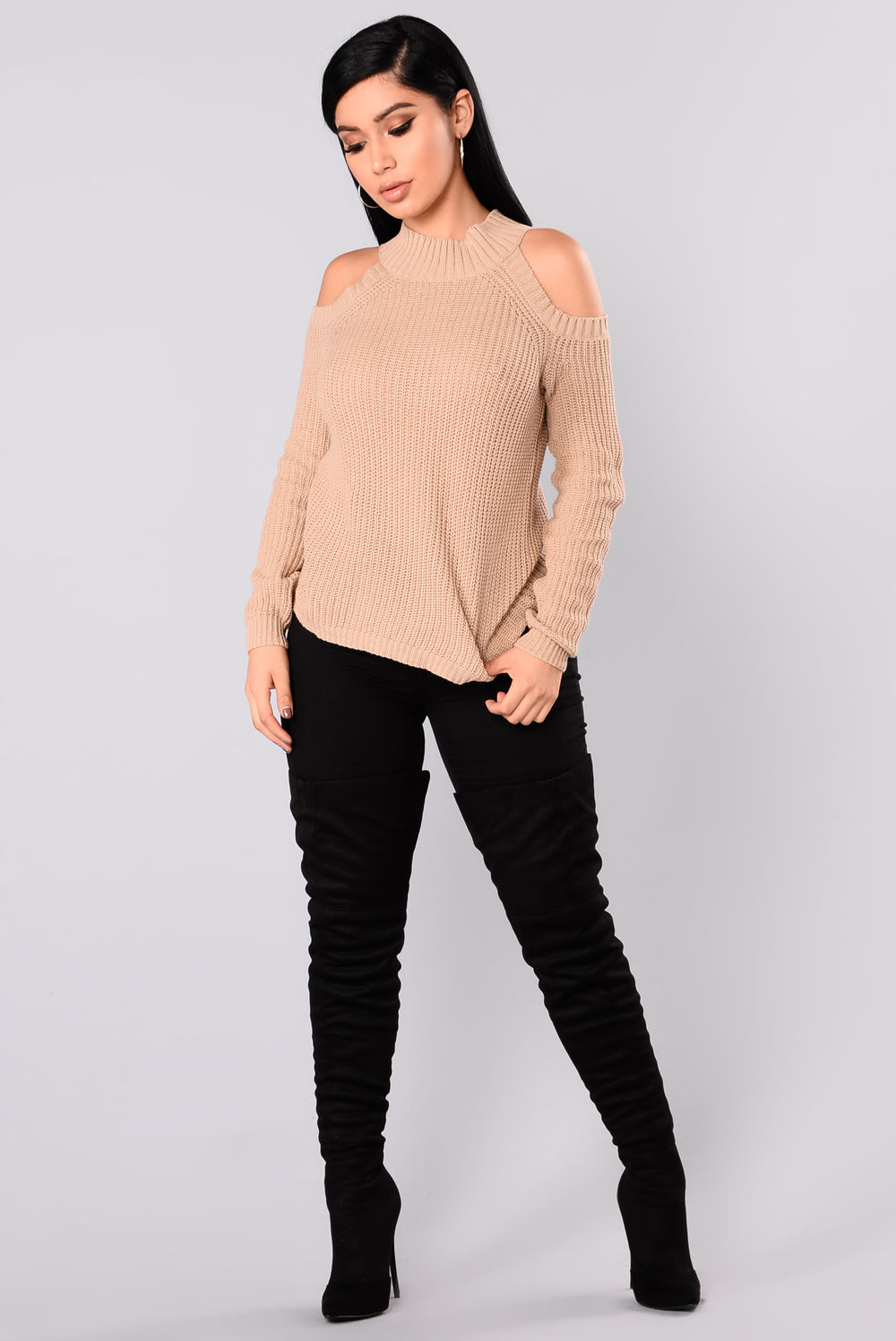 Cailyn Mock Neck Sweater - Khaki