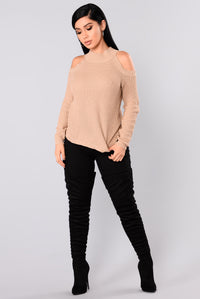 Cailyn Mock Neck Sweater - Khaki Angle 3