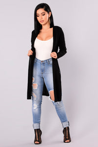Nita Ribbed Cardigan - Black Angle 2