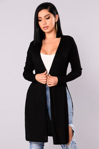 Nita Ribbed Cardigan - Black Angle 1