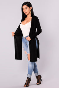 Nita Ribbed Cardigan - Black Angle 3