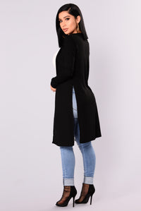 Nita Ribbed Cardigan - Black Angle 4