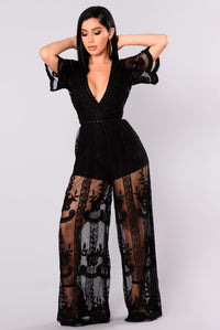 Set Our Love On Fire Jumpsuit - Black