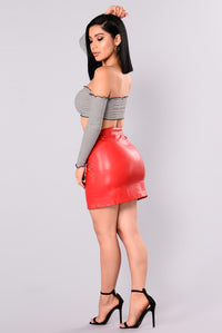 Lost Stars Faux Leathers Skirt - Red Angle 5