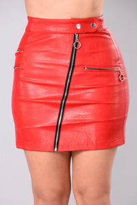 Lost Stars Faux Leathers Skirt - Red Angle 2