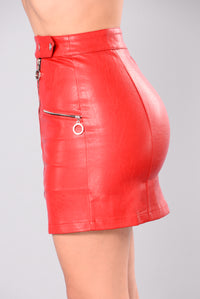 Lost Stars Faux Leathers Skirt - Red Angle 4
