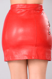 Lost Stars Faux Leathers Skirt - Red Angle 6