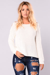 Lala Lace Up Sweater - Ivory