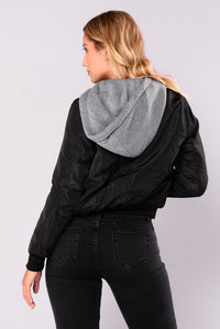 Tamara Hooded Bomber - Black