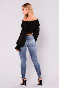 Bella Marie Off Shoulder Crop Top - Black