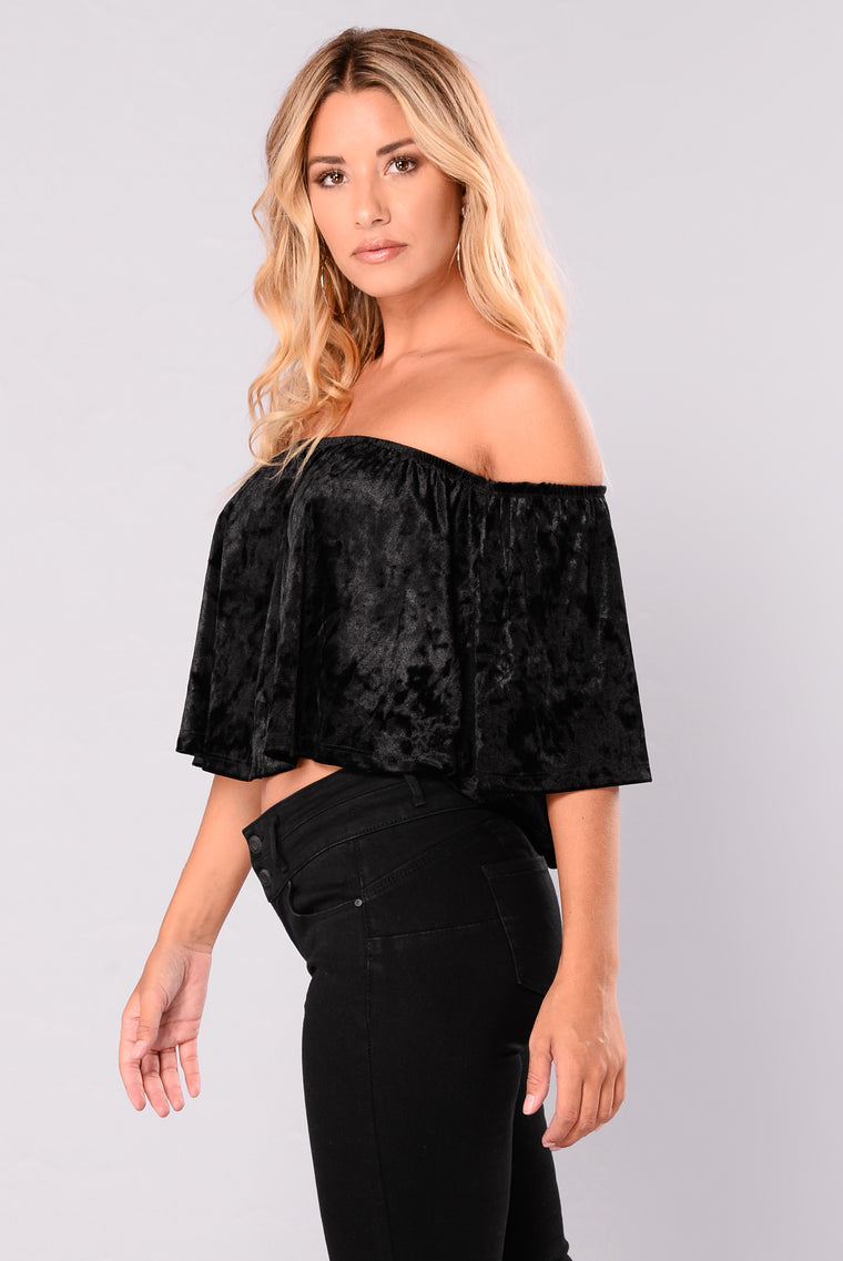 Marina Velvet Off Shoulder Top - Black