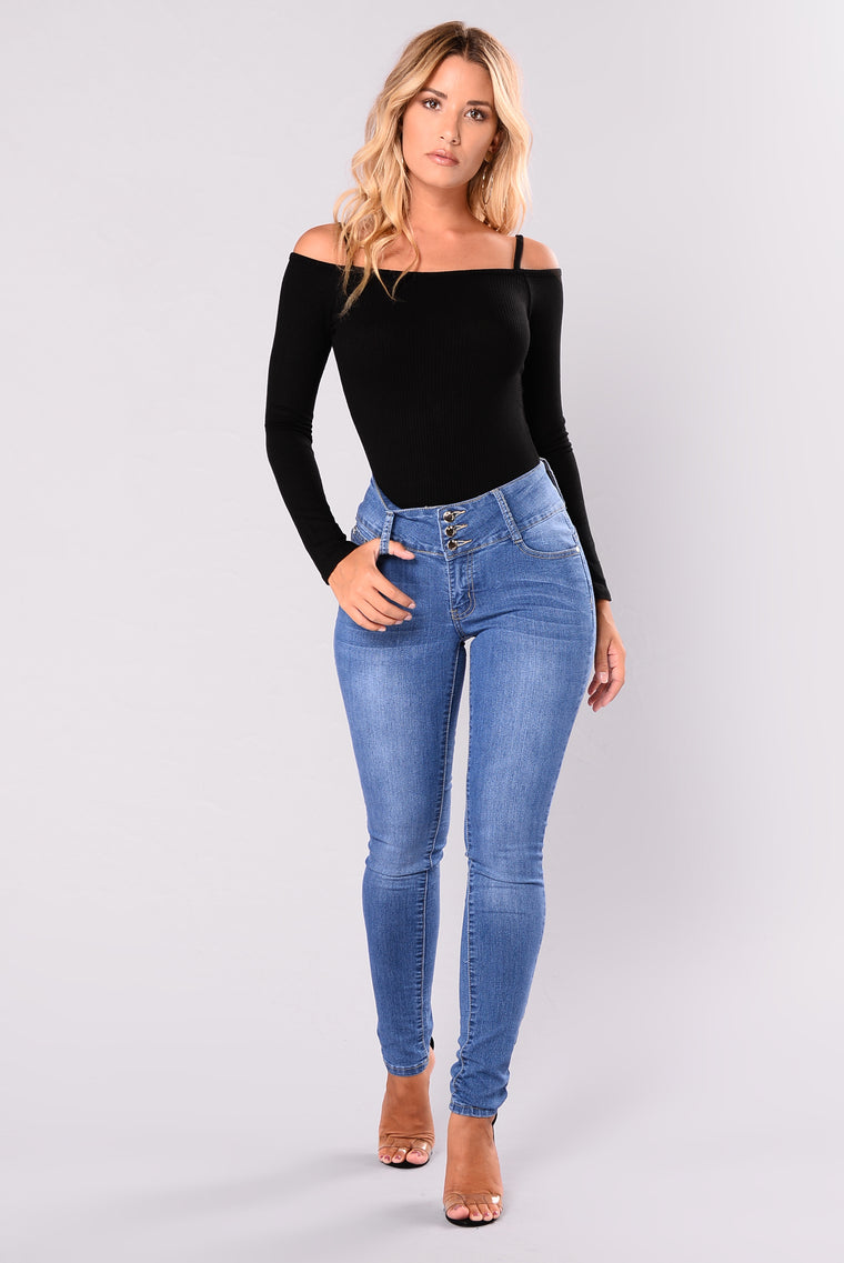 Raegan Off Shoulder Bodysuit - Black