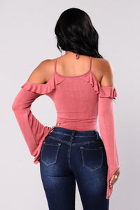 Marisol Bell Sleeve Top - Washed Rose