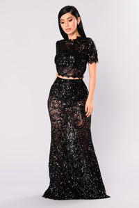 Annemarie Sequin Set - Black