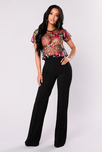 Jenny Embroidered Mesh Top - Black