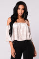 Marina Velvet Off Shoulder Top - Champagne
