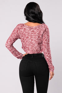 Amina Crop Lounge Top - Burgundy