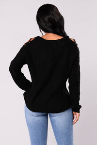 Lala Lace Up Sweater - Black