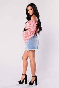 Cara Gingham Top - Red/White