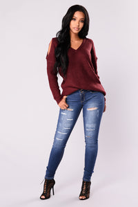Carol Cold Shoulder Sweater - Burgundy