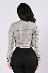 Keep It Short Denim Jacket - Charcoal