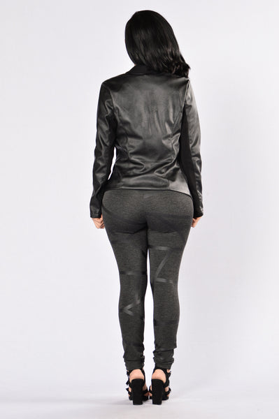 Taking Flight Vegan Leather Jacket - Black