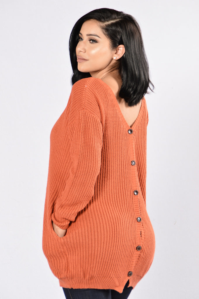 Sexy Secretary Sweater - Rust