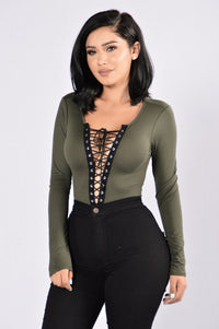 Playhouse Bodysuit - Olive Angle 1