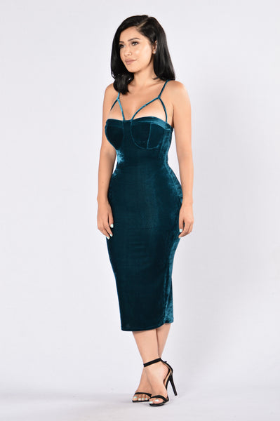 Rich Like Velvet Dress - Teal