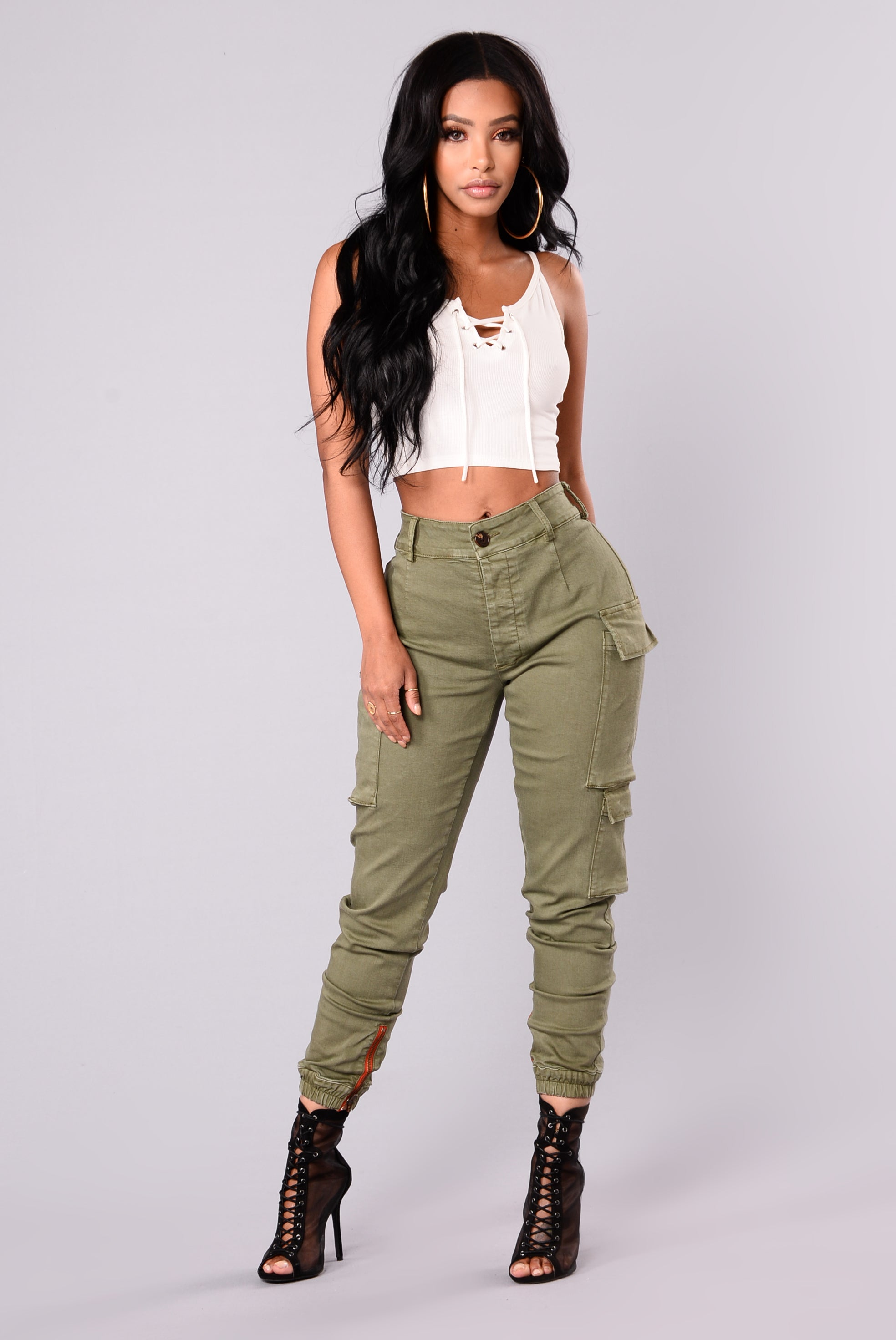 Kalley Cargo Pants - Olive