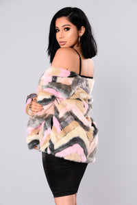 Are You Furreal Fur Coat - Pink Multi