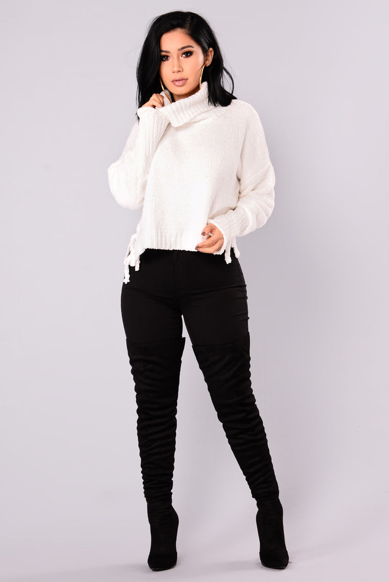 Tricia Lace Up Sweater - White