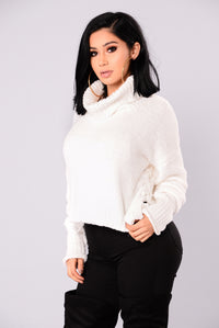 Tricia Lace Up Sweater - White Angle 3