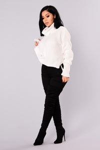 Tricia Lace Up Sweater - White Angle 4