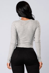 Alma Top - Heather Grey Angle 2
