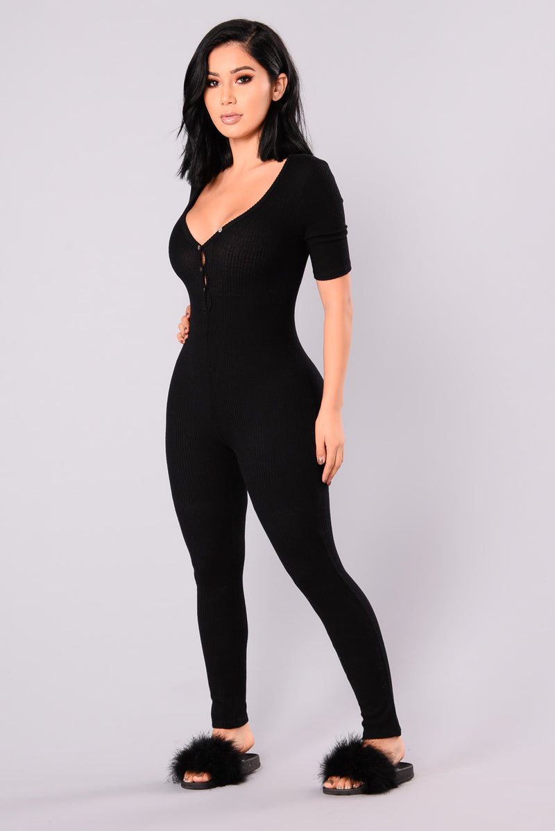 Fast Love Henley Jumpsuit - Black