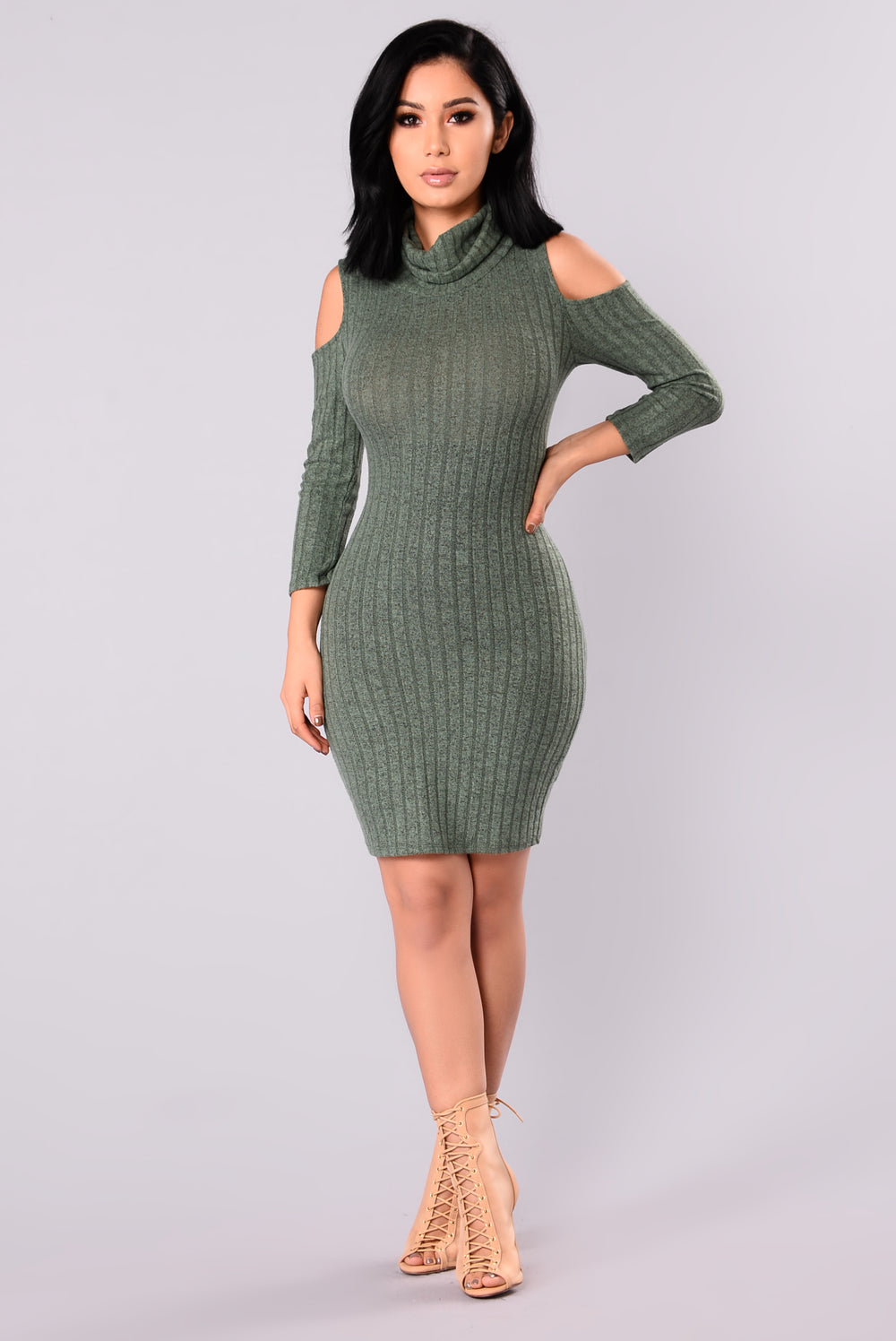 Touch By Touch Cold Shoulder Dress - Sage