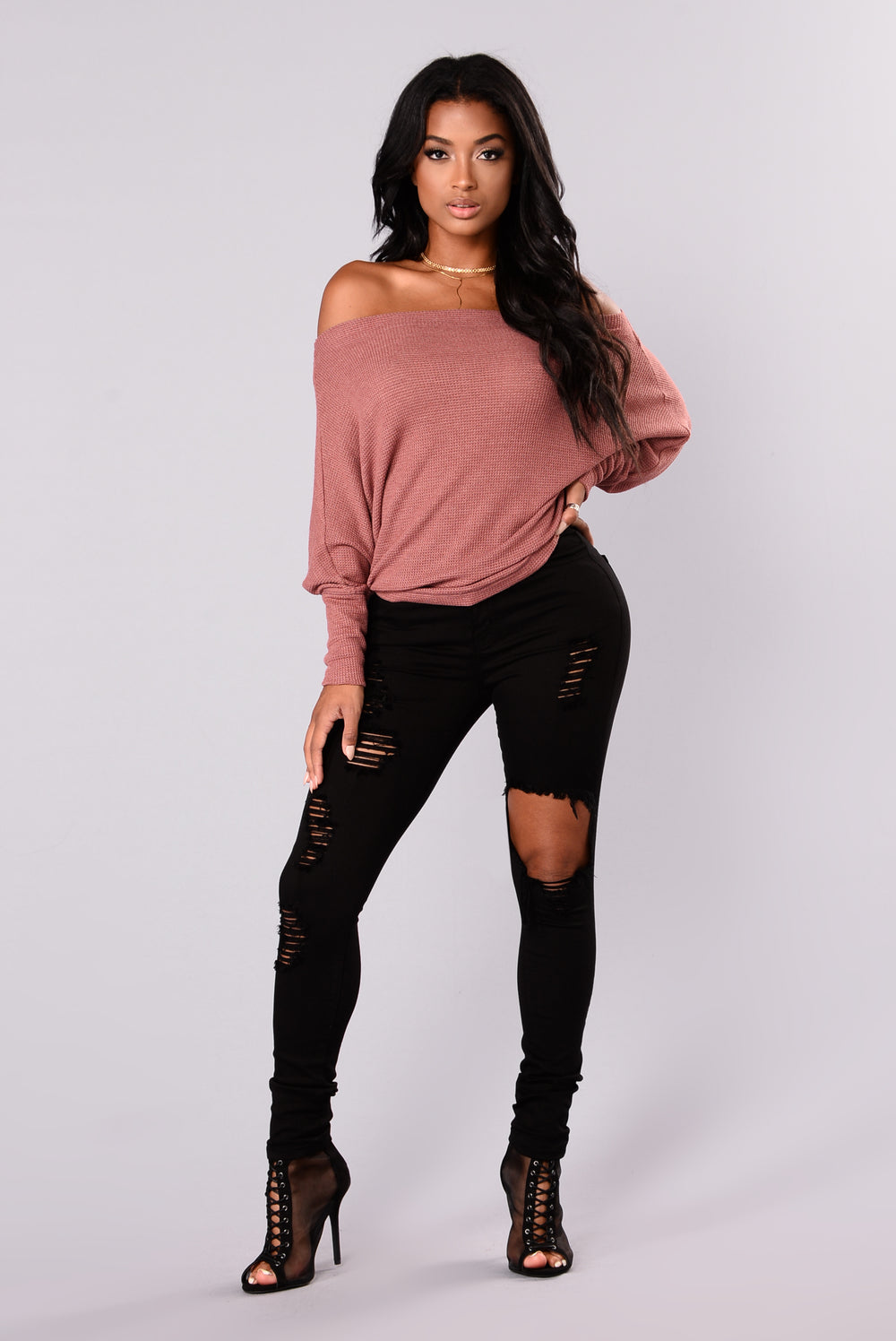 Fashion Nova Apres Chic Off Shoulder Sweater Mauve