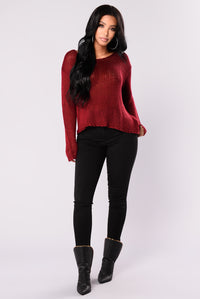 Up All Night Sweater - Burgundy