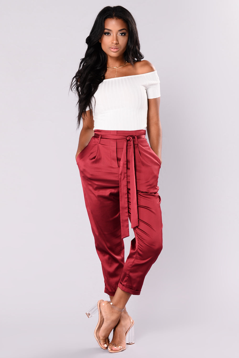 Saria Satin Pants - Red