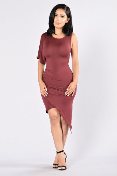 One Side Dress - Dark Wine