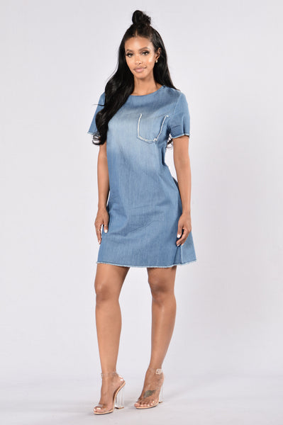 Down And Out Dress - Denim Blue