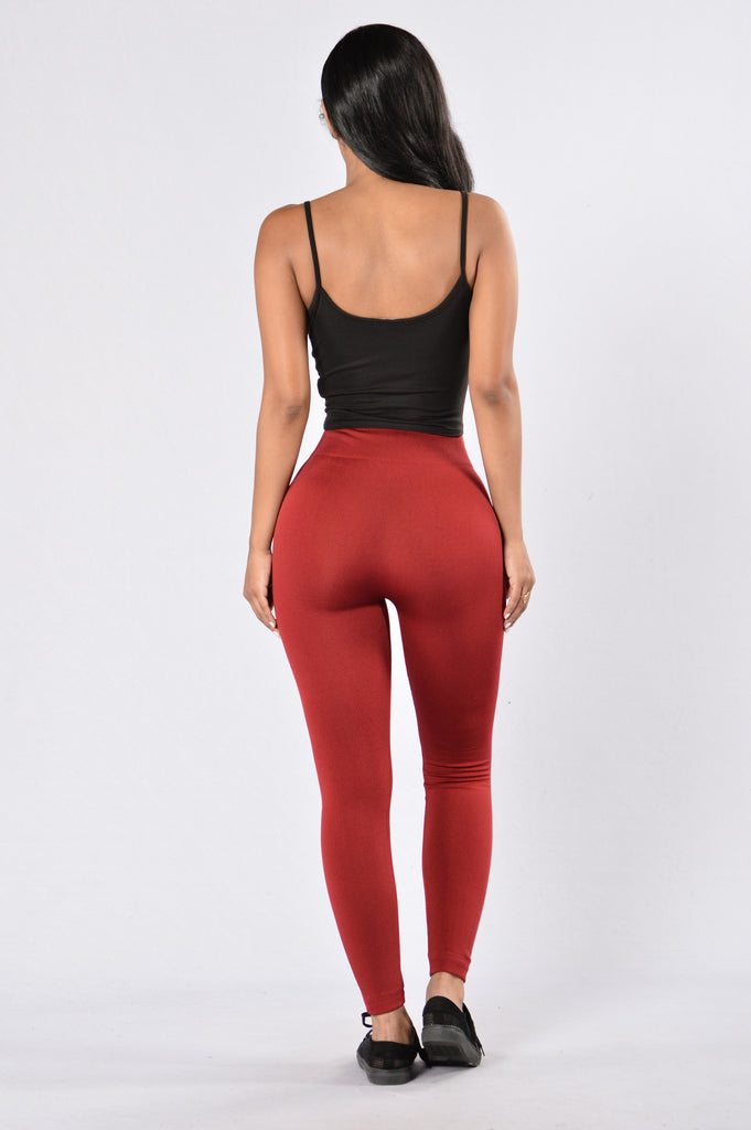Yes Fleece Leggings - Red