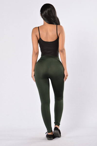 Yes Fleece Leggings - Hunter Green