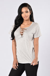 Give You A Chance Top - Heather Grey Angle 1