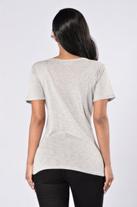 Give You A Chance Top - Heather Grey Angle 2