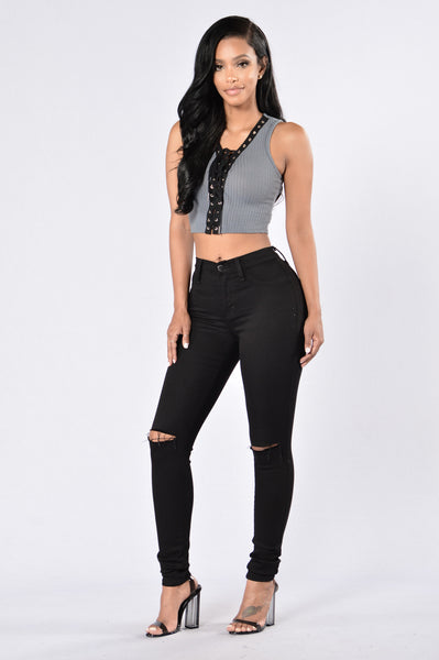 Drama Queen Top - Charcoal