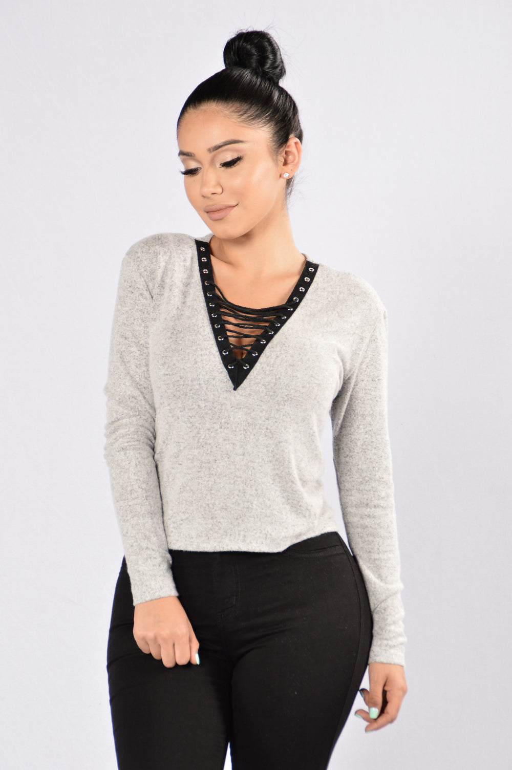 Lace It Up Top - Grey