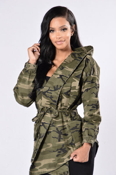 High Rank Hooded Denim Jacket - Camouflage