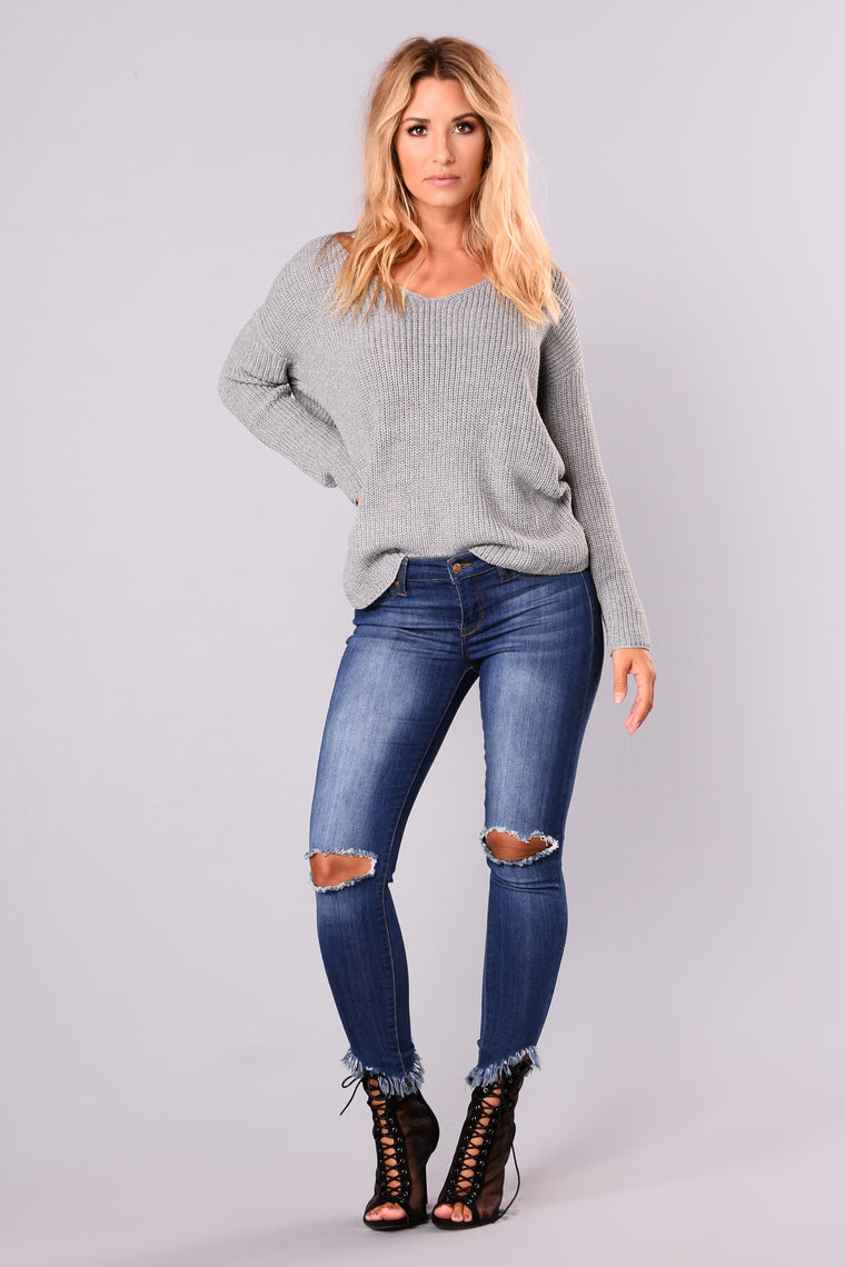 Falls Favorite Girl Sweater - Grey